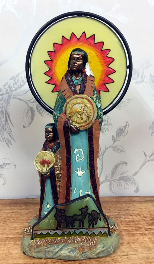 Indian Tribes People Ornament Sun Catcher Figurine - Child with Medallion (B)